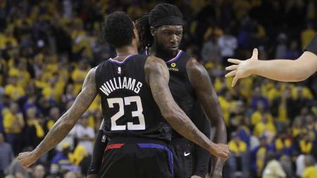 Pemain Clippers merayakan kemenangan saat melawan Warriors di NBA Playoffs. - INDOSPORT