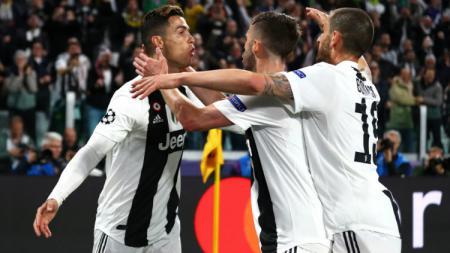 Selebrasi para pemain Juventus usai Cristiano Ronaldo mencetak gol. - INDOSPORT