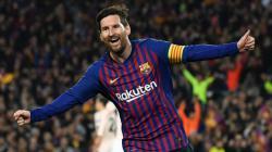Lionel Messi selebrasi usai cetak gol dalam laga Barcelona vs Manchester United di perempatfinal Liga Champions, Rabu (17/04/19).