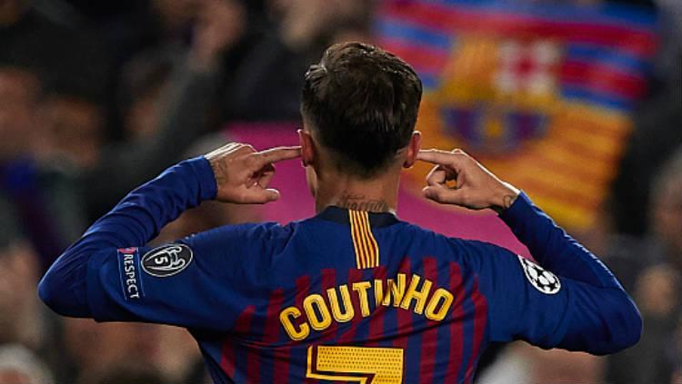 Gaya selebrasi Philippe Coutinho dalam laga Liga Champions: Barcelona vs Manchester United di Camp Nou, Rabu (17/04/19). Copyright: Quality Sport Images/Getty Images