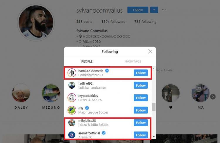Tampak pada akun Instagram milik Sylvano Comvalius sudah mengikuti Arema FC, Hamka Hamzah dan juga Milomir Seslija. (instagram.com/sylvanocomvalius) Copyright: instagram.com/sylvanocomvalius