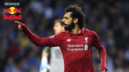 Pemain Liverpool, Mohamed Salah dari usai mencetak gol kedua untuk timnya ke gawang Porto. Foto: Matthias Hangst/Getty Images - INDOSPORT