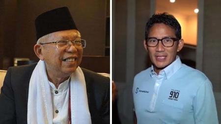 Ma'ruf Amin dan Sandiaga Uno. Foto: Bisnis - INDOSPORT