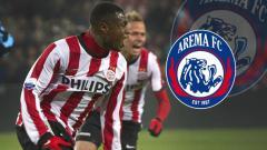 Indosport - Género Zeefuik dan Logo Arema FC