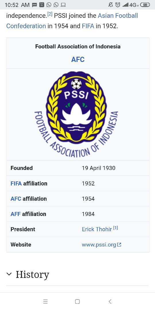 Nama Erick Thohir tercantum di Wikipedia menjadi Ketua Umum PSSI Copyright: Wikipedia