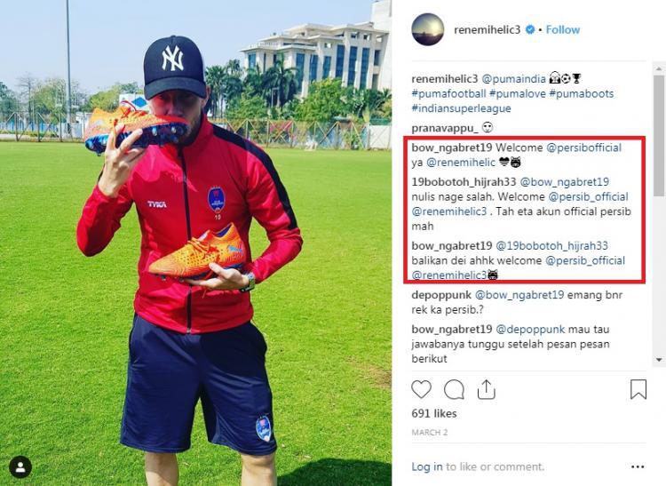 Kolom komentar Rene Mihelic dibanjiri oleh Bobotoh. Copyright: Instagram