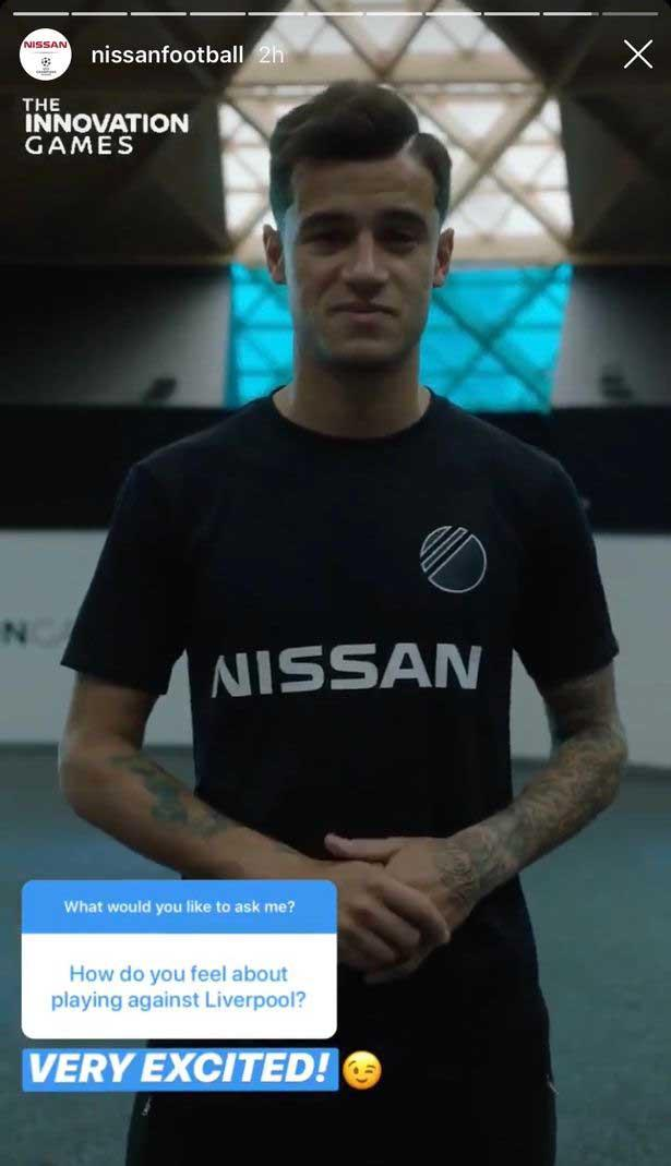 Bintang Barcelona, Philippe Coutinho mengirimkan pesan untuk fan Liverpool Copyright: Instagram/Nissan Football
