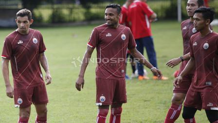 Para pemain Persija saat mengikuti latihan jelang laga keempat AFC Cup 2019 melawan Ceres Negros di Lapangan PSAU TNI Angkatan Udara, Halim, Jumat (19/04/19). Herry Ibrahim/INDOSPORT