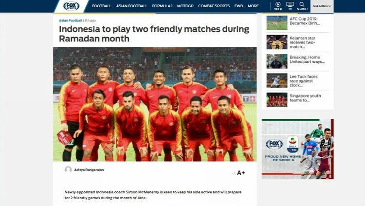 Fox Sports Asia soroti agenda uji coba Timnas Indonesia yang berdekatan dengan bulan Ramadan Copyright: Fox Sports Asia