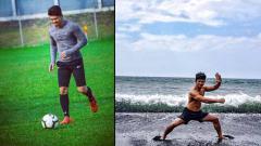 Indosport - Iko Uwais, aktor Indonesia yang jago silat dan juga piawai bermain sepak bola.