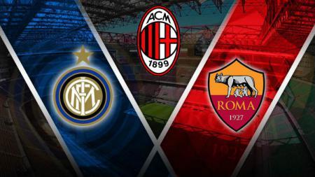 Logo Inter, AC Milan dan Roma. - INDOSPORT
