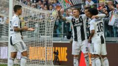 Indosport - Perayaan gol kedua Juventus ke gawang Fiorentina, Minggu (21/04/19), di Allianz Stadium.