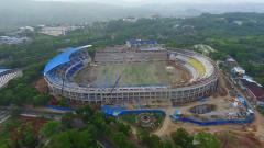 Indosport - Stadion Jatidiri yang sedang di renovasi.