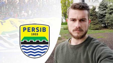 Srdjan Ajkovic dan logo Persib Bandung. - INDOSPORT