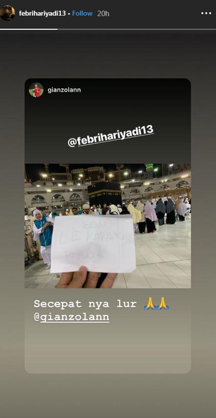 Gian Zola ajak Febri Hariyadi pergi ke Tanah Suci Mekah Copyright: Instagram/@febrihariyadi13