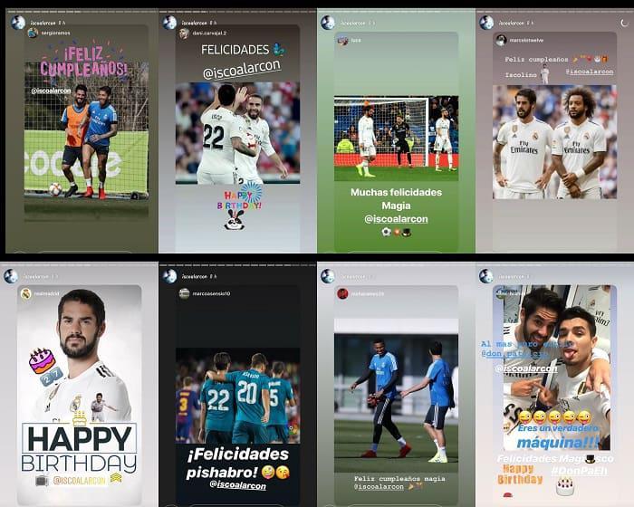 Beberapa unggahan Instagram Story Isco yang berisi ucapan selamat ulang tahun dari Real Madrid. Copyright: Instagram @iscoalarcon