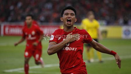 Sandi Sute melakukan selebrasi usai cetak gol ke gawang Ceres-Negros pada laga keempat Piala AFC 2019. Herry Ibrahim/INDOSPORT - INDOSPORT