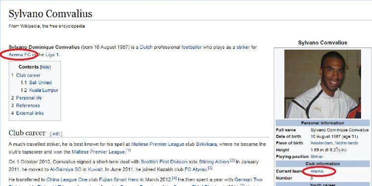 Menurut laporan beberapa situs, Sylvano Comvalius dikabarkan telah resmi ke Arema FC. Copyright: Wikipedia