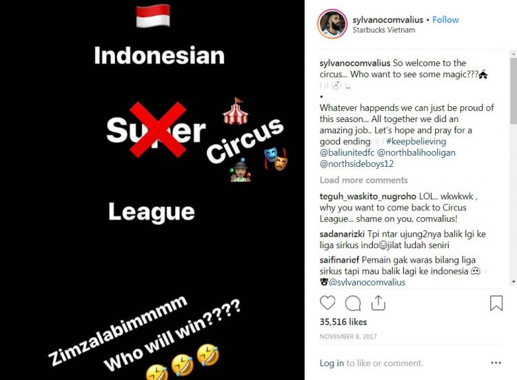 Sylvano Comvalius pernah menyebut Liga 1 sebagai Liga Sirkus. Copyright: Instagram