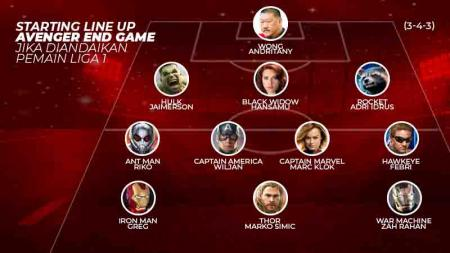 Starting Line Up Avenger and Game jika diandaikan pemain liga 1. Grafis:Tim/Indosport.com - INDOSPORT