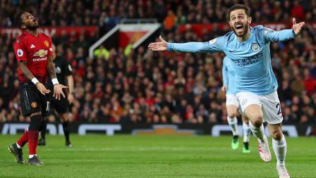 Bernardo Silva melakukan selebrasi usai cetak gol ke gawang Man United pada menit ke-54' di Old Trafford pada 24 April 2019. Catherine Ivill / Getty Images