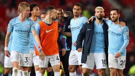 Kegembiraan ditampakan oleh para pemain Man City setelah mencukur Man United dengan skor 2-0 pada laga Liga Primer Inggris di Old Trafford pada 24 April 2019. Catherine Ivill/Getty Images
