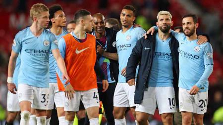 Manchester City hanya perlu melewati hadangan Brighton & Hove Albion untuk memastikan gelar juara Liga Primer Inggris 2018/19. Catherine Ivill/Getty Images. - INDOSPORT