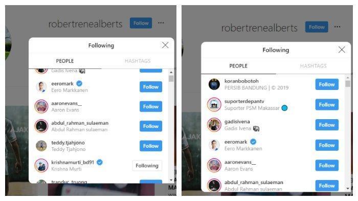 Robert Rene Alberts mengikuti akun Koran Bobotoh dan Teddy tjahyono (Instagram @robertrenealberts) Copyright: Instagram @robertrenealberts