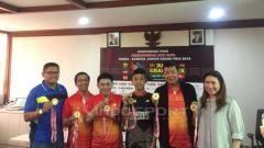 Indosport - Preskon event Pembangunan Jaya Raya Yonex Sunrise Junior Grand Prix 2019. Petrus Manus Da Yerimon/INDOSPORT