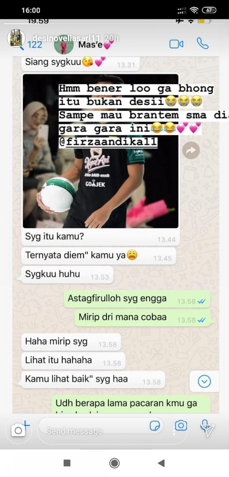 Percakapan antara Firza Andika dan kekasihnya. Copyright: Instagram.com/desinoveliasari11
