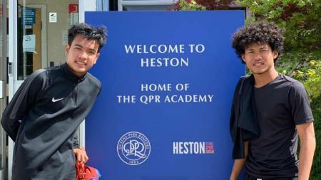 Brylian Aldama (kiri) dan Bagus Kahfi (kanan) sedang berada di akademi QPR. - INDOSPORT