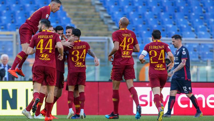 AS Roma berhasil meraih kemenangan atas Cagliari Copyright: Giampiero Sposito/Getty Images