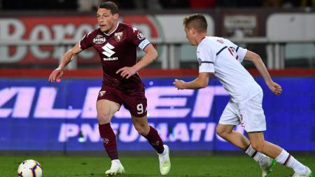 Andrea Belotti, yang merupakan penyerang andalan klub Serie A Liga Italia, Torino, kabarnya diminati Everton dan Manchester United. - INDOSPORT