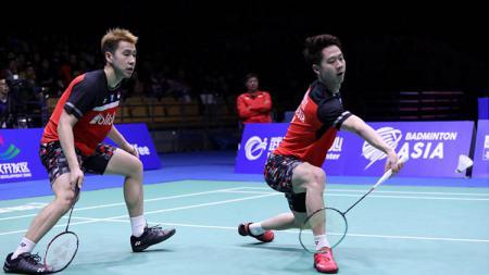 Kevin Sanjaya/Marcus Gideon saat kalah di final Badminton Asia Championships 2019. - INDOSPORT