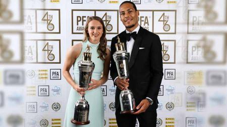 Vivianne Miedema dan Virgil Van Dijk pemain terbaik Liga Primer Inggris 2018/19. Foto: Twitter@PFA - INDOSPORT