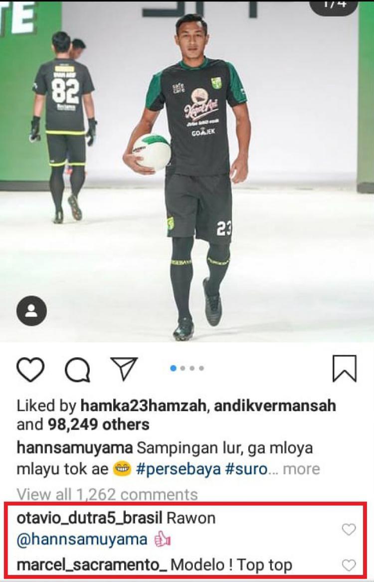 Unggahan Hansamu Yama di komentari Marcel Sacramento Copyright: instagram.com/hannsamuyama