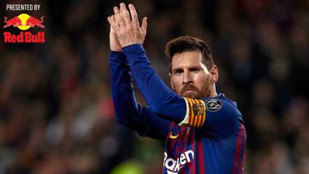 Selebrasi Lionel Messi usai cetak gol ke gawang Liverpool, Kamis (2/5/19), Quality Sport Images/Getty Images - INDOSPORT