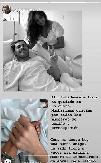 Sara Carbonero ungkap pesan manis untuk Iker Casillas yang terkena serangan jantung. Copyright: Instagram @saracarbonero