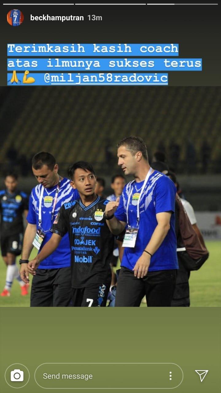 Beckham memberikan pesan penghormatan setelah Radovic resmi dipecat dari Persib Bandung Copyright: Instagram/beckhamputran
