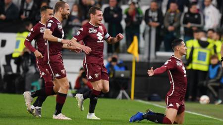 Pemain Torino merayakan gol ke gawang Juventus - INDOSPORT