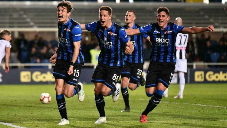 Para pemain Atalanta sedang berselebrasi Copyright: Paolo Magni /ANSA via AP