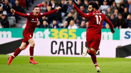 Salah Merayakan golnya ke gawang Newcastle - INDOSPORT
