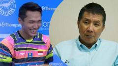 Indosport - Jonatan Christie dan legenda bulutangkis Indonesia Rudy Hartono.