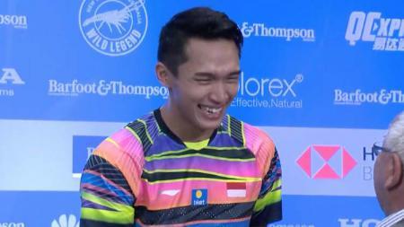 Jonatan Christie ketika juara  New Zealand Open 2019. - INDOSPORT