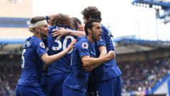 Indosport - Pemain Chelsea merayakan gol ke gawang Watford, Minggu (05/05/19), di Stamford Bridge.
