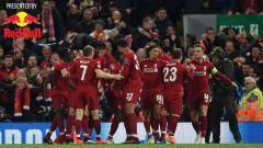 Indosport - Selebrasi para pemain Liverpool saat unggul atas Barcelona.