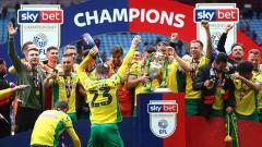Indosport - Norwich City juara Championship Inggris 2018-19.
