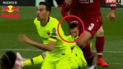 Indosport - Momen Lionel Messi ketika ditempeleng oleh pemain Liverpool.jpg