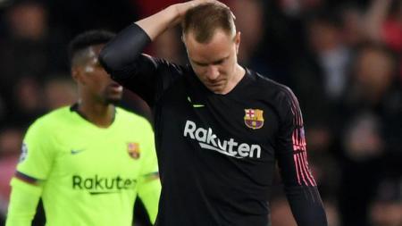 Tak hanya Lionel Messi, Marc-Andre ter Stegen selaku kiper juga jadi alasan mandeknya performa Barcelona di LaLiga Spanyol 2019-2020. - INDOSPORT
