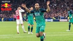 Indosport - Selebrasi Lucas Moura usai cetak gol ke gawang Ajax Amsterdam.